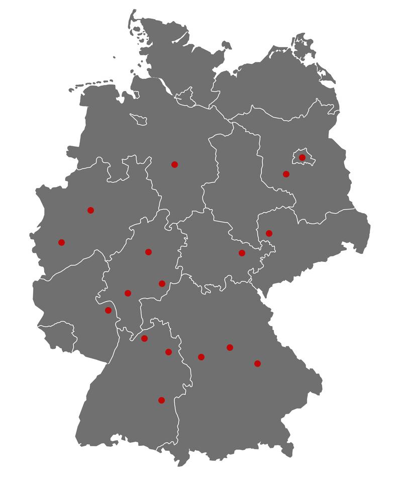 Führungskraft in Produktion, Logistik und Mittelstand in Alsfeld, Berlin, Düsseldorf, Köln, Duisburg, Frankfurt/Main, Hannover, Lehrte, Hanau, Heidelberg, Iphofen, Jena, Künzelsau, Lauf, Leipzig, Mainz, Neuendettelsau, Potsdam, Regensburg, Ulm und Windsbach.
